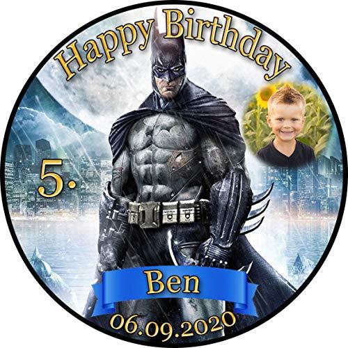 Tortenaufleger Fototorte Tortenbild Kindergeburtstag Batman BM01 (Zuckerpapier) Rund 20 cm Ø mit Foto