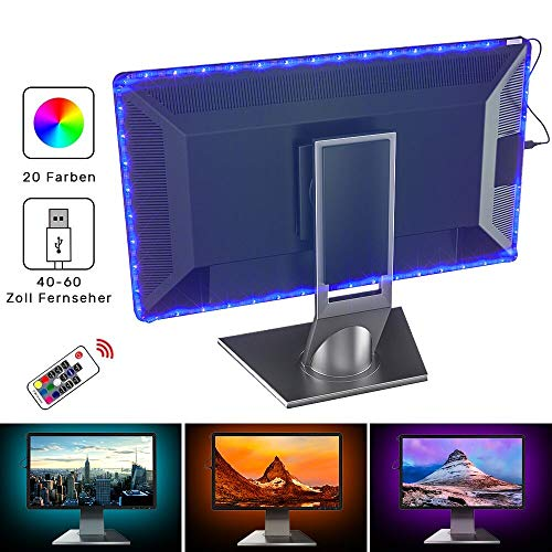 Seryal LED TV Hintergrundbeleuchtung, 78 Zoll USB LED Streifen Beleuchtung für 20-45 Zoll HD Fernseher Bildschirm und PC-Monitor