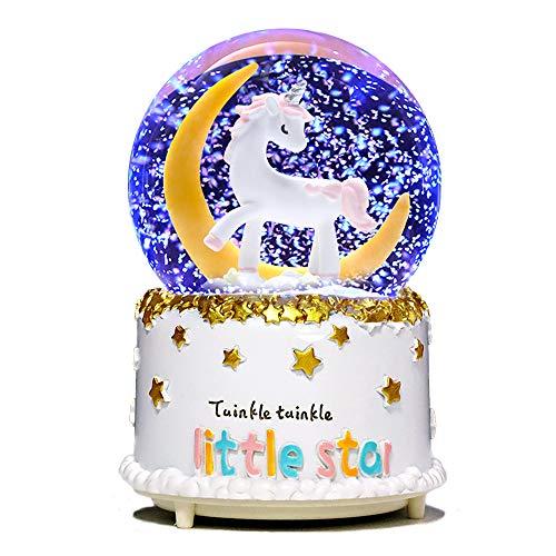 VECU Unicorn Snow Globe, 80 MM Manual Snowfall Cartoon Moon Music Box Home Decoration for Girls Kids Granddaughters Babies Birthday Gift, Musical, Resin/Glass