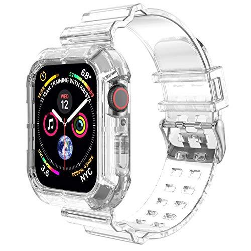 Clear Watch Band for Apple Watch 38mm 40mm,Transparent Clear Soft Silicone Sports iWatch Band Strap for Apple Watch Series 6/5/4/SE(Clear 40mm)