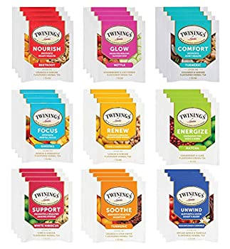 Twinings Wellness Herbal Tea Bags Sampler Assortment Variety Pack Gift Box - 36 Count - Perfect Variety