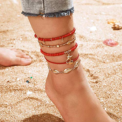 Mosako Boho Layered Anklets Shell Ankle Bracelets Red Beaded Ankle Chain Starfish Foot Chains Fish Star Foot Jewelry DIY Fashion Sand designed elegant Charm Adjustable for Women and Girls 5Pcs
