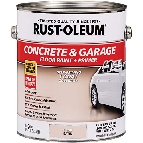 Rust-Oleum 347121 Concrete & Garage Floor Paint + Pimer Satin Sand gal