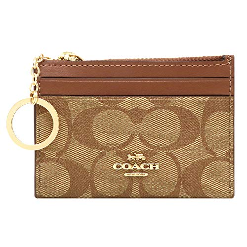 COACH Mini Skinny ID Case Card Coin Key Canvas Classic Wallet Saddle