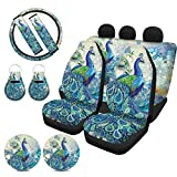 WELLFLYHOM Peacock Car Seat Covers Full Set Split Bench for Women Pretty Girly Print with Steering Wheel Cover Seat Belt Protector Coaster Keychain Universal Fit for SUV Truck Sedan Feather Floral