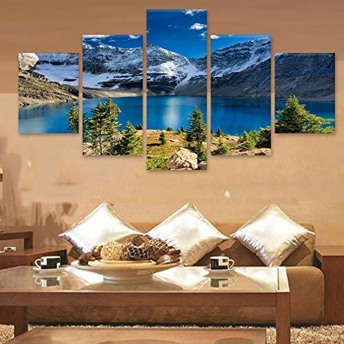 TIANJJss 5-delige afbeelding op canvas met afbeeldingen voor de muur, decoratie voor thuis, frame, voor woonkamer, 5 delen, sneeuw, bergen, vloeistof, landschap, modern schilderij op canvas