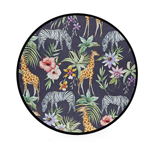 RunningBear Alfombra redonda de 91 cm, diseño de hojas de palmera tropical, jirafa y cebra, lavable para cocina, dormitorio, sala de estar