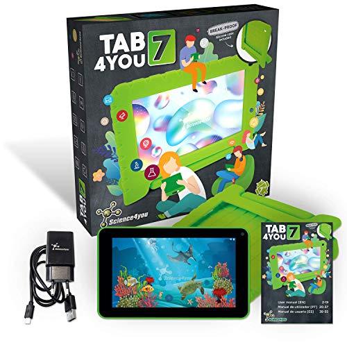 Science4you Tab4you Tablet infantil para Niños con Funda Protetora, Camera 2.0MP 7 Pulgadas para Niños, WiFi 2GB RAM 16GB ROM, SD Card 64GB, Quad-Core, Flash LED