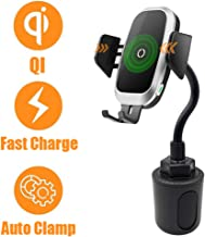Cup Holder Phone Mount Charger, Wireless Car Charger Universal Gooseneck Qi Charging Cell Phone Holder Compatible with iPhone 11 Pro XS Max XR X 8 Samsung Galaxy S10 S9 Note S8 S7 S6 Nokia LG Google
