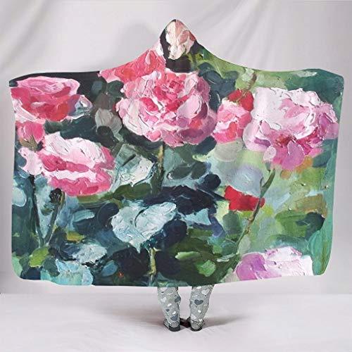 Bestwe Künstlerische Wirkung Ölgemälde Sherpa Hoodie Decke Ultra Weich Zottelig Reisedecke Für Couch Sofa Erwachsene und Kinder Winter Frühling White 150x200cm
