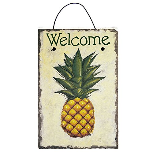 Welcome Pineapple on Off-White Background features Chalk Art Painted Sign on 12 by 8 Inch Slate Board