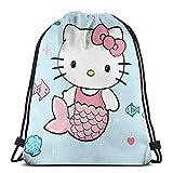 Mermaid Hello Kitty Classic Drawstring Bag Gym Backpack Man Women Sport Storage Shoulder Bag