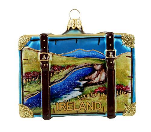Ireland Suitcase Shamrock Polish Glass Christmas Ornament Travel Souvenir Decoration