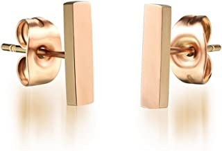14K Rose Gold Plated Stainless Steel Stud Earring, A Pair Stick Tiny 10mm Stud Earrings Ge314Short