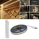 Luz de armario de sensor de movimiento, 2M 120 LED 4000K Tira de LED blanco cálido, USB o con batería, noche para armario, Armario, Debajo del gabinete, Escaleras, Cajón, Iluminación nocturna