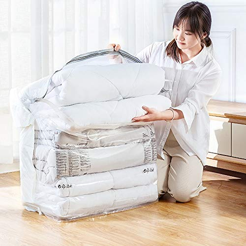 Grote Clear Storage Bag Vacuum opbergzakken, Extra Large Compressed Space Saver Bags No Need Pompen for reizen, ruimte zakken for Seizoensgebonden kleding, dekbedden, handdoeken, kussens, beddengoed,