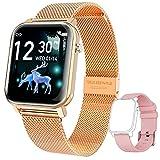 KOSPET GTO Smartwatch Damen 1.4 Zoll IPS HD Touchscreen Fitness Tracker IP68 Wasserdicht SpO2 Schrittzähler Armbanduhr mit Schlafmonitor Pulsuhr Musiksteuerung Uhren für iOS Android (Gold)