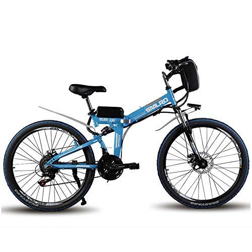 WYFDM Bicicleta de Pulgada de montaña de 60 km Maxspeed 35 km/h Bicicleta eléctrica Caminando 500 W Potencia Motor Doble Choque Ebike,Blue,26