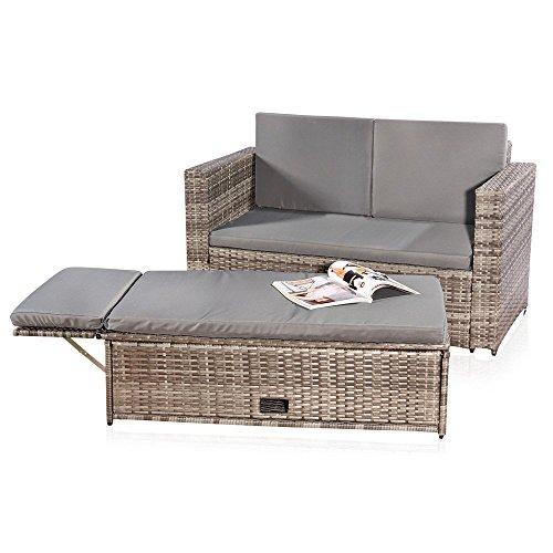 Melko Gartenset, Poly Rattan, Lounge Sofa-Garnitur mit klappbarer Fußbank, Schwarz, inklusive Kissen, mehrteilig, Grau
