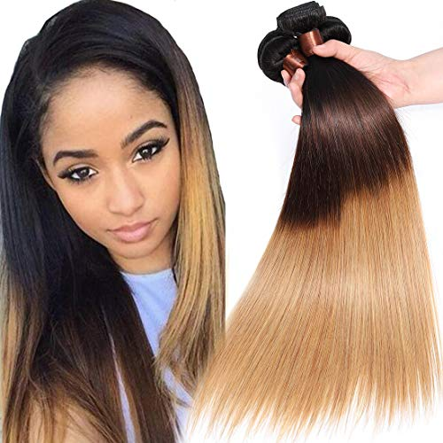 Cranberry Hair Ombre Brazilian Virgin Hair Straight Hair Weave 3 Bundles 10 10 10inch Three Tone Color Human Hair Weaving Blonde Hair T1B/4/27