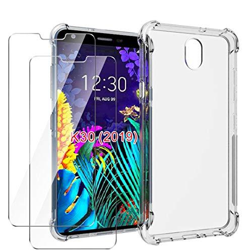 HYMY Funda para LG K30 2019 + 2 x Cristal Templado - Transparente Tapa TPU Silicona [Refuerzo de Cuatro Esquinas, Absorción de Golpes] Caso Carcasa para LG K30 2019 (5.45')