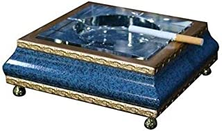 GAOTING Ashtray/Crystal Classic tobacco ashtray (Color : Blue, Size : 18 * 7cm)