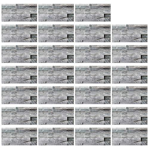 Incdnn 27 piezas vintage resistentes al agua imitación ladrillo azulejos adhesivos DIY cocina suelo pared pared baño decoración 20 x 10 cm pegatinas pegatinas para uñas