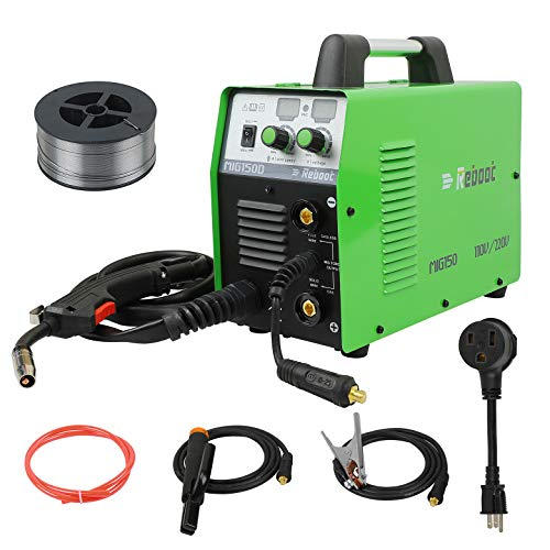 MIG Welder Flux Core Gasless Reboot MIG150 110V/220V Stick Mig Welding Machine Dual Voltage 150 Amps Gas and Gasless 2 in 1 Flux Core/Solid Wire Automatic Feed IGBT Inverter MMA ARC Welding