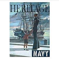 Qwgykr ポスターと版画米国海軍Uss憲法オールドアイアンサイドヘリテージリクルートアートポスターキャンバス絵画家の装飾-40X60Cmフレームなし