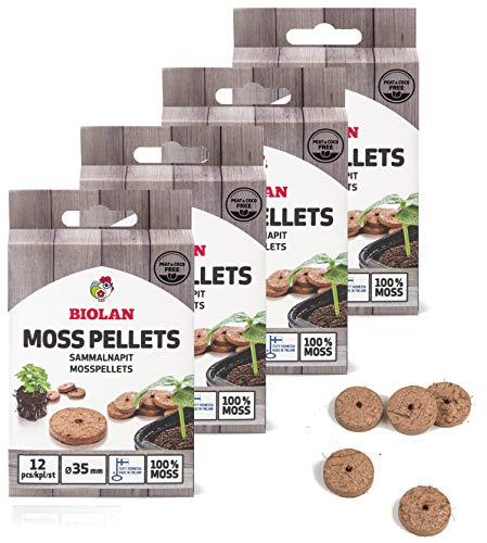 Biolan umweltfreundliche, Torf-freie Moospellets für die Keimung von Saat - 48 Stck