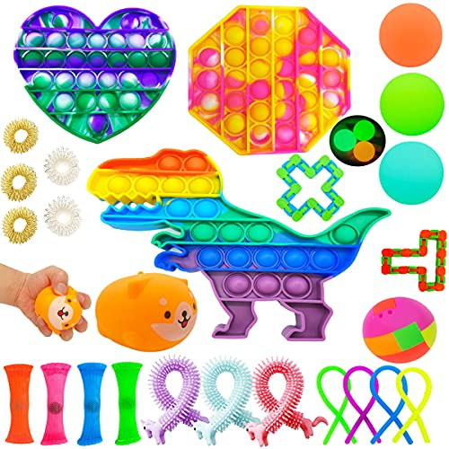 26 Pack Sensory Fidget Toys Set, Fidget Pop Toys Relieves Stress and Anti-Anxiety Hand Sensory Toys for Kids Adults Autism Therapy Squeeze Toy Special Puzzle Balls Birthday Party Favors Gifts