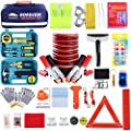 Roadside Assistance Emergency Kit - Multipurpose Emergency Pack Car Premium Road Kit Essentials Jumper Cables Set (8 Foot) Automotive Roadside Assistance 142 Pieces Winter Car Kit