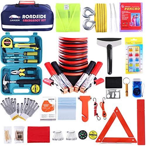 Roadside Assistance Emergency Kit – Multipurpose Emergency Pack Car Premium Road Kit Essentials Jumper Cables Set (8 Foot) Automotive Roadside Assistance 142 Pieces Winter Car Kit