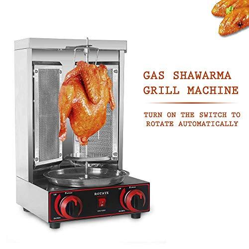 WYZXR Shawarma Gyro BBQ Macchina per Carne Verticale Kebab Doner Carne Infrarossi Grill Acciaio Inossidabile 2 Bruciatori Girarrosto Broiler Cottura