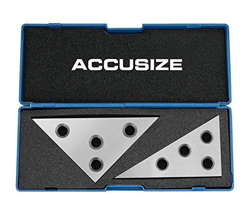 Accusize Industrial Tools 2 Pcs Solid Angle Plate Set, 30-60-90 Deg and 45-45-90 Deg, Eg10-9010