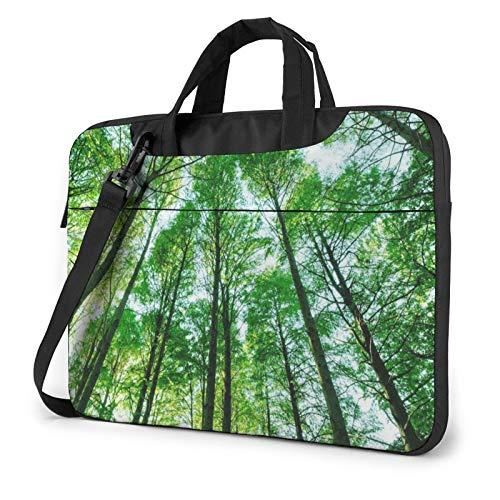 Laptop Shoulder Bag - Green Forest Trees Printed Shockproof Waterproof Laptop Shoulder Backpack Bag Briefcase 14 Inch