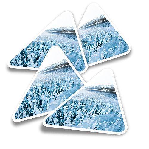 Pegatinas triangulares de vinilo (juego de 4) – Calcomanías divertidas de gas metano del lago congelado para portátiles, tabletas, equipaje, reserva de chatarra, nevera #3290