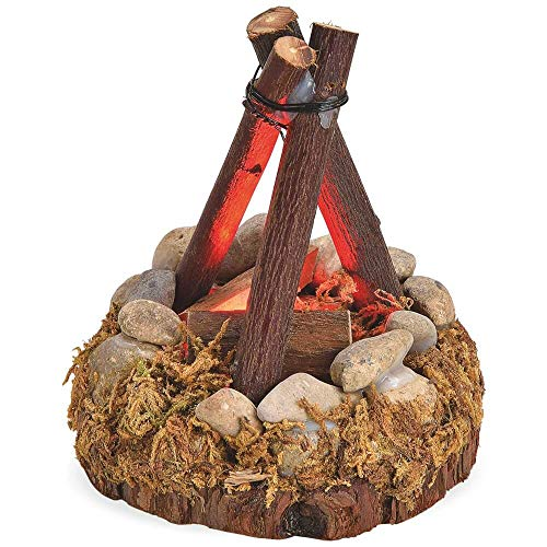 matches21 Holz Lagerfeuer LED Feuer Beleuchtung Feuerstelle Dreibein Echtholz für Krippen Weihnachtskrippen 8x8x10 cm