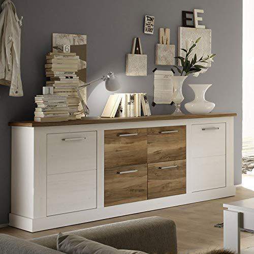 Dressoir 207 cm, 2 deuren en 4 laden, kleur wit en notenhout gesatineerd