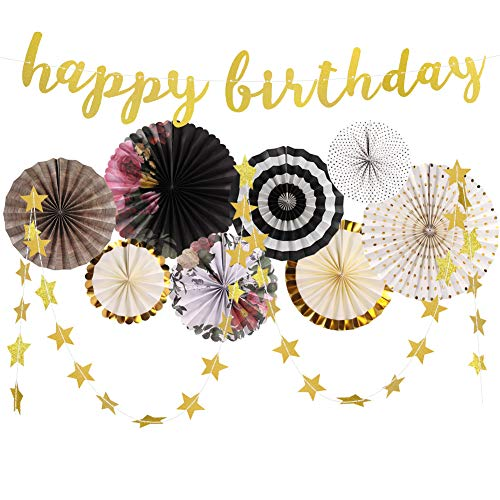 Birthday Decorations, Birthday Decorations for Women and Men Happy Birthday Banners Black Flowers Paper Fans Gold Star Garland for Anniversary Vintage Tea Birthday Party Supplies