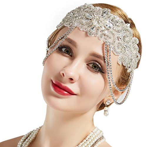BABEYOND Flapper Headband Roaring 20s Bridal Headpiece 1920s Great Gatsby Accessory with Rhinestones Chain for 1920s Themed Wedding Costume