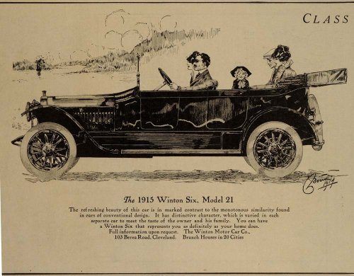 1914 Ad 1915 Winton Six Model 21 Vintage Car Antique - Original Print Ad