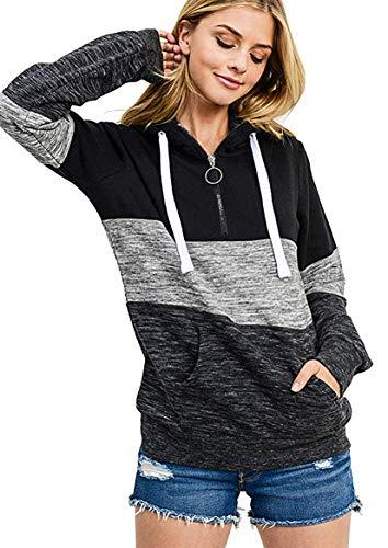 Cassiecy Hoodie Damen Kapuzenpullover Herbst Winter Frauen Freizeit Sport Langarm Sweatshirt Streetwear Kapuzenpulli Tops (XL,Schwarz)