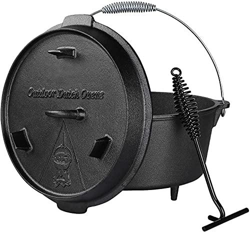 Dutch Oven 8 L, Gusseisen Kochtopf mit Füßen, bereits eingebrannt, Verschiedene Größe, inkl. Deckelheber, Spiralförmiger Henkel und Schlitz für Themormeter, für Kochen Braten Backen