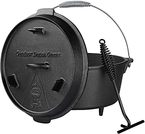 Dutch Oven, 13.2 Quart Cast Iron Dutch Oven, Pre-Seasoned Cast Iron Dutch Oven, With Lid Lifter Handle & stand, With Feet, Dual Function Lid Griddle for Cooking Camping Home BBQ
