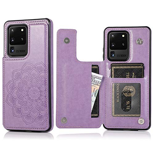 Apucase Galaxy S20 Ultra 5G Case with Card Holders, Slim PU Leather Galaxy S20 Ultra Wallet Cover Folio Flip Drop Protection Case for Samsung Galaxy S20 Ultra 5G 6.9 Inch (Purple)
