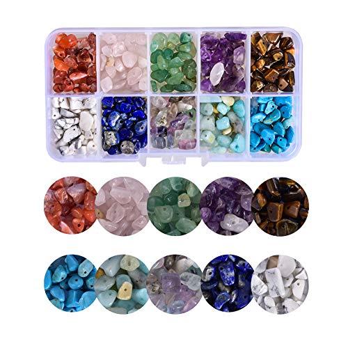 Sweieoni Cuentas de Piedras Preciosas Perlas de Piedras Semipreciosas 150g, 10 Colores Piedras Preciosas de 4 a 8 mm Piedras Curativas Naturales Piedra para Joyas Kit de Fabricación de Cuentas