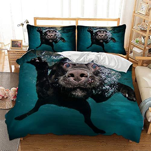 Juego de ropa de cama con diseño de animales, gato, perro, microfibra, impresión digital 3D, 3 piezas, con cremallera y funda de almohada, juego de cama juvenil (200 x 200 cm + 2 x 50 x 70 cm)