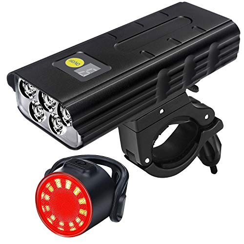 1600 Lumens Bike Light 5 LED, USB-C Rechargeable Bicycle Front Light and Taillight Set, 5200mAh Battery and IPX6 Waterproof Bike Headlight, Fits for Mountain Road Bike