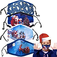 4-Pack Pipitree Kids Breathable Christmas Face Mask with Elastic Loops